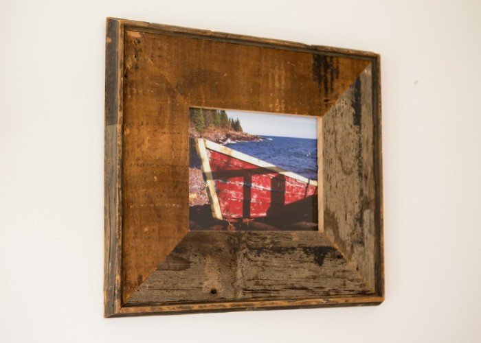 Picture frame made from pine shiplap subsiding re-purposed from a house remodeling project. Approximate size: 16x20.
