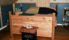 Custom-built rustic bedframe